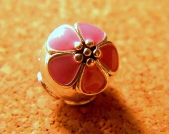 3 clip clasp - blocker stopper for European bead bracelet style pandor @ 11 x 1 mm-C52 pink cherry blossom