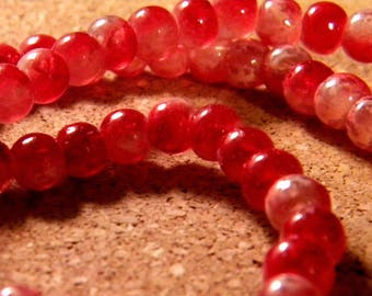 45 glass beads 6 mm speckled 2 translucent tones - red - PE187-5