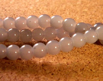 "50 glass way ""jade"" - gray - PE90 6 mm beads"