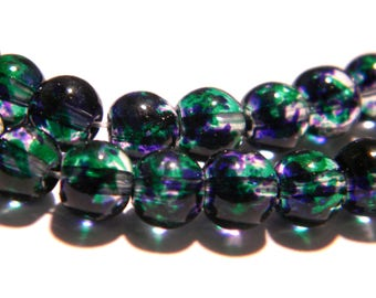 glass glass G180 60 beads - 6 mm - translucent 2 tones - Blue - Pearl