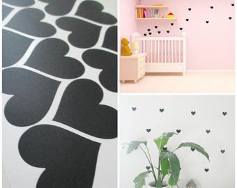 Black decorative hearts shape stickers mural