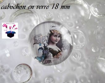 1 cabochon clear domed 18mm vintage theme