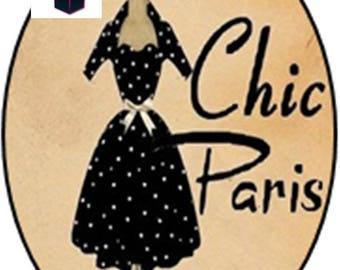 1 cabochon clear 18mm x 13mm chic Paris theme