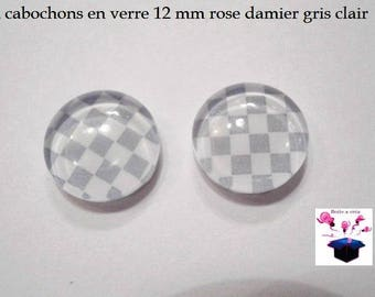 2 glass cabochons 12 mm loop or ring checkerboard gray theme