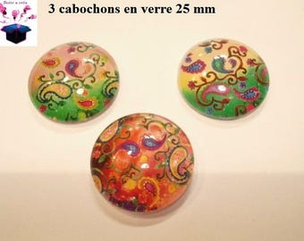 3 cabochons in. curved glass 25mm mandala theme