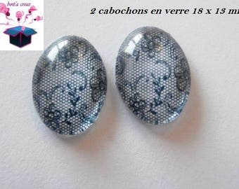 lace 2 glass cabochons 18mm x 13mm theme