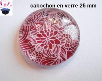 1 cabochon in. curved glass 25mm lace theme
