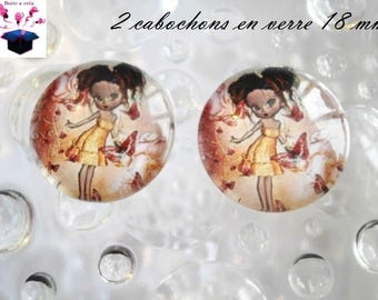 2 miss fall theme 18mm domed glass cabochon