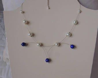 parure collier & boucles d'oreille  imitation perle de culture