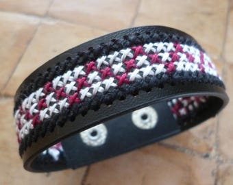Cuff Bracelet black cross-stitched red and white