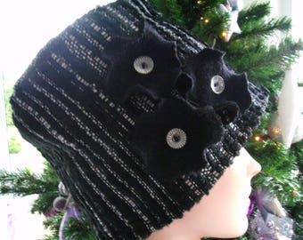Charles Beanie Hat striped velvet accented with three flowers and three translucent buttons.