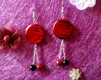black and Red Pearl Earrings