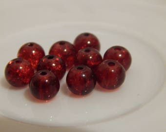 set of 10 Red cracked glass 6mm beads