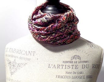 Infinity Scarf Chevron Green and Pink Art Deco Print Made with ITY Knit Stretch Fabric