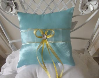 pillows with turquoise satin wedding ring pillow