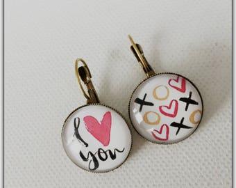 Earrings glass cabochon, I love you, Stud Earrings, Valentine's day, love, love