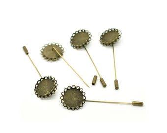 X 2 prong pin metal color bronze