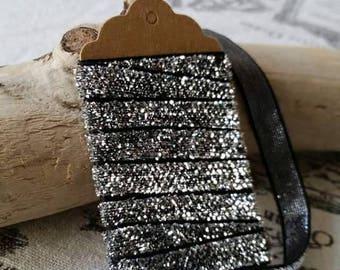 Ribbon dark grey shiny sequin silver 9mm