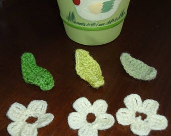 set of three flowers and three leaves crocheted with wool - new