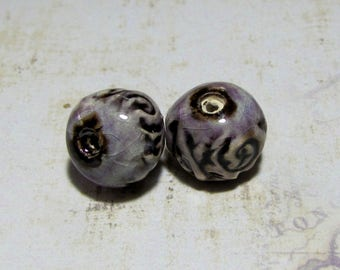 Bohemian handcrafted ceramic pearls, lace for creation of jewels purple violet print bronze