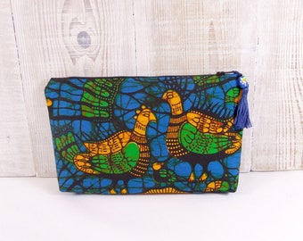 """Kit Wax fabric African blue, yellow green, pattern """"birds"""", lined cotton black"""