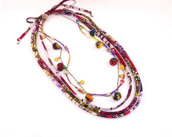Multicolor ethnic African Wax fabric, beads and chain necklace