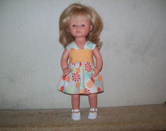 dress in printed cotton for 34 cm dolls, compatible with the of Dene (marietta)