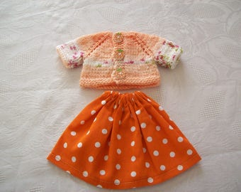 clothes for dolls 32 33 cm, with babies (skirt cotton printed with vest or sweater)