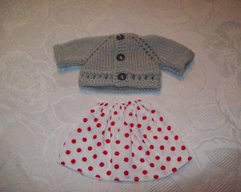 clothes for dolls of 32 33 cm, darlings, paola reina (skirt cotton printed with a vest or sweater)