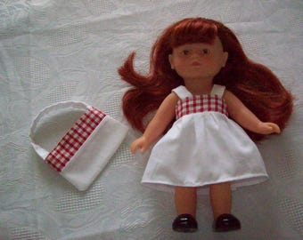 dress for doll 20 cm:type corolline microbe dress cotton printed with matching bag