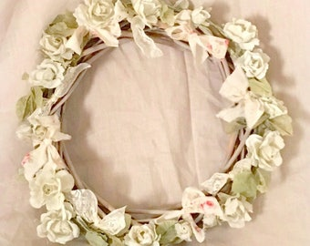 Crown of white shabby roses romantic