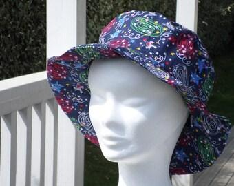 Chapeau de soleil d'été femme  voyage plage ville ou rando imprimé créateur lin'eva