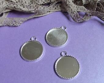 Silver metal charm bezel cabochons