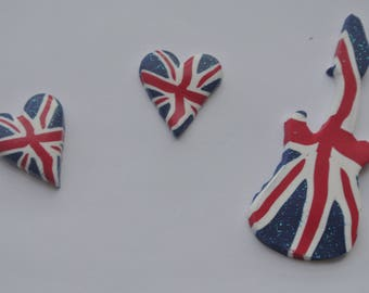 set of 3 polymer clay beads, england