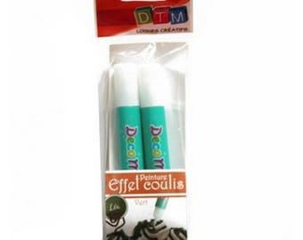 Set of 2 pencils glaze effect sauce kiwi