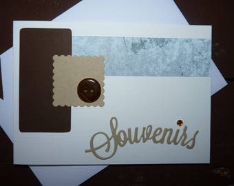 "Dual card ""Memories"" blue, beige, chocolate"