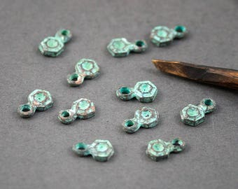 4 pcs - small charms • Hexagon pattern ethnic relief • • copper plated Mykonos patina • 11mm x 6mm
