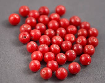 10 pcs - Indian glass beads, spacer • dark red translucent shiny • 8mm