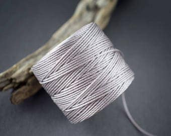 5 yards - cord, twisted nylon fine • gray • 0.6 mm wire