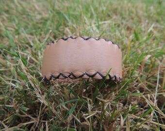 hand stitched leather beige bracelet