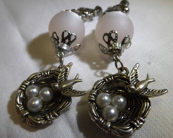 Baptism, birds nest with eggs in metal silver way under polaris bead earrings
