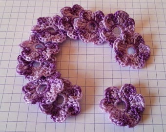 Applique crochet small flowers cotton purple gradient