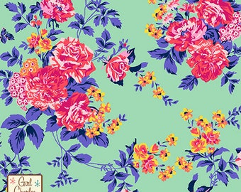 Pink Coral Floral on Minty Green Cotton Jersey Blend Knit Fabric **UK Seller**