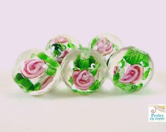 5 glass lampwork green, 12mm, (pv259) beads