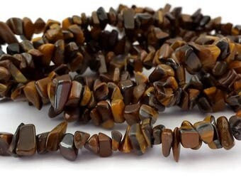 Tiger eye: 80 cm chips 1 thread, beads 5 to 9 mm (pg136)