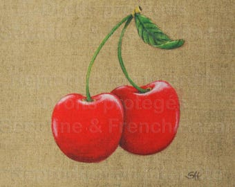 """CouponTissu """"time of cherries"""" decoration DIY painting reproduction"""