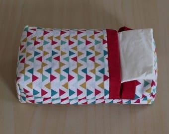 Pocket tissue case - washable - triangle pattern