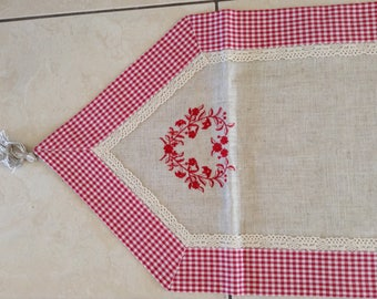 Country Shabby Chic style table runner linen and Red embroidery