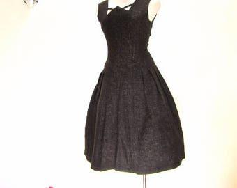 M 50s Brown Wool Flecked Button Back Day Dress Full Skirt Girl Friday School Girl Medium