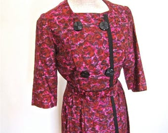 M 50s 60s Red Dress Sheath Wiggle Belt Bow Day Office Mid Century Mad Men Pink Purple Black Buttons Double Breasted Medium